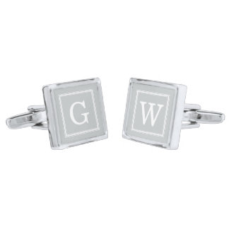 Gray Framed Monogram Silver Finish Cuff Links