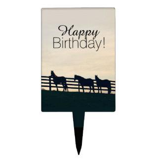 Gray Galloping Horses Pattern Cake Picks