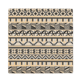 Gray Geometric Abstract Aztec Tribal Print Pattern Wood Coaster