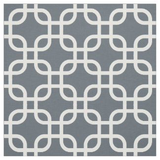 Gray Geometric Links Pattern Fabric