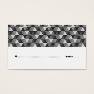 Gray Geometric Triangles Place Card