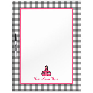 Gray Gingham Large Dry Erase Board For Teachers