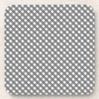 Gray Gingham Pattern Coaster