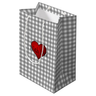Gray Gingham Red heart With Love Medium Gift Bag
