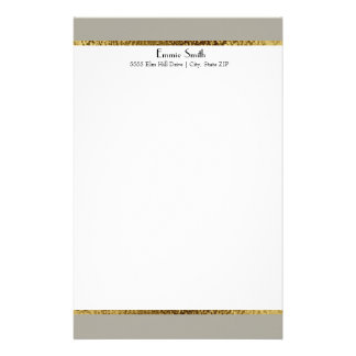 Gray Gold and White Personalized Stationery