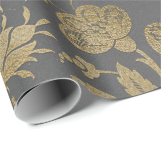 Gray Gold Floral Grungy Cottage Damask Sepia Lila Wrapping Paper