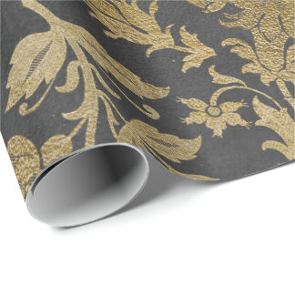 Gray Gold Floral Lilas Cottage Damask Graphite Wrapping Paper