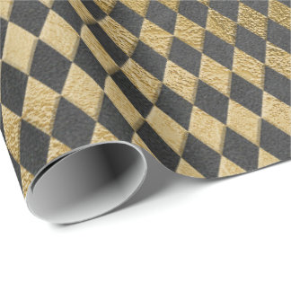 Gray Gold Grungy Chessboard Square  Graphite Wrapping Paper