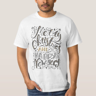 Gray & Gold Merry Christmas Typography T-Shirt