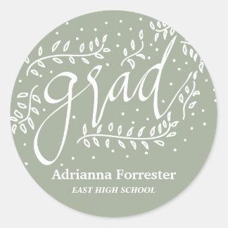 Gray Grad Typography Whimsical Round Sticker