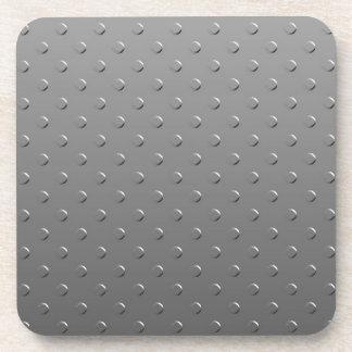 Gray Gradient Faux Metal Pattern Coaster