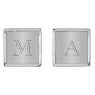 Gray Gradient Monogram Cufflinks Silver Finish Cufflinks