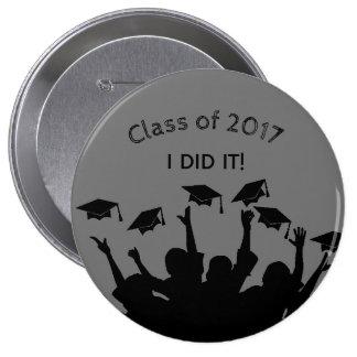 Gray Graduation Cap Gown Cap Toss Personalized 10 Cm Round Badge