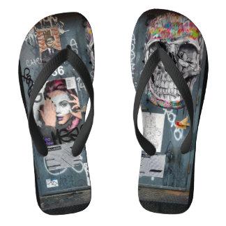 Gray Graffiti Flip Flops Thongs
