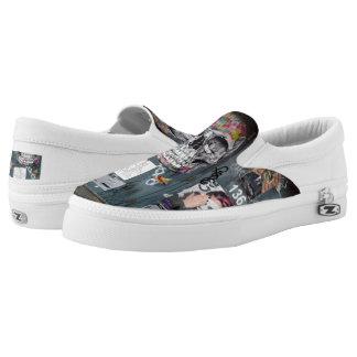 Gray Graffiti Slip On Shoes