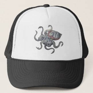 Gray/Gray Mythical Cartoon Kraken Monster Trucker Hat