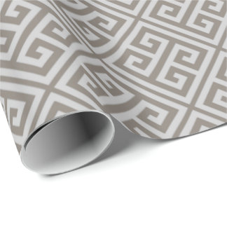 Gray Greek Key Wrapping Paper