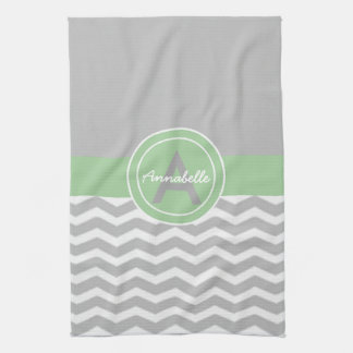 Gray Green Chevron Kitchen Towel
