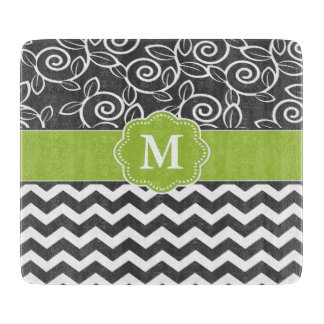 Gray Green Chevron Monogram Cutting Board