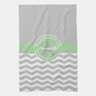 Gray Green Chevron Tea Towel