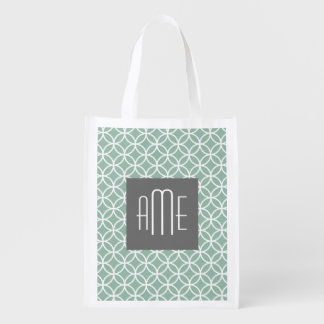 Gray Green Geometric Pattern with Monograms