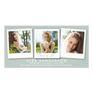 Gray Green Instant Style Photo Graduation Personalized Photo Card