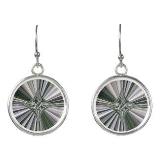 Gray-Green Starburst Circular Drop Earrings