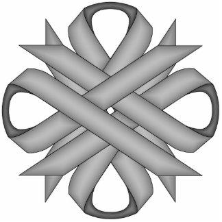Gray / Grey Clover Ribbon Photo Sculpture Key Ring