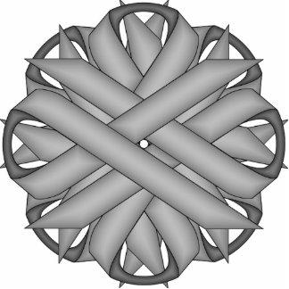 Gray / Grey Flower Ribbon Photo Sculpture Key Ring