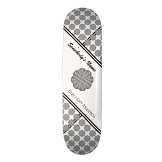 Gray / Grey Flower Ribbon Skateboard Deck