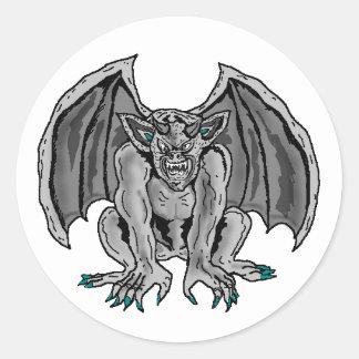 Gray/Grey Gargoyle Round Sticker