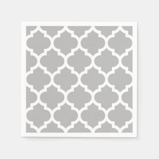 Gray Grey White Moroccan Quatrefoil Pattern #5 Paper Serviettes