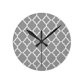 Gray Grey White Quatrefoil Moroccan Pattern Round Clock