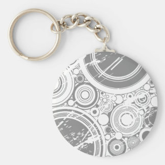 Gray Grunge Circles: Vector Art: Basic Round Button Key Ring