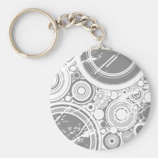 Gray Grunge Circles: Vector Art: Basic Round Button Key Ring