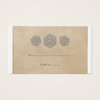 Gray Grunge D20 Dice Gamer Place Card