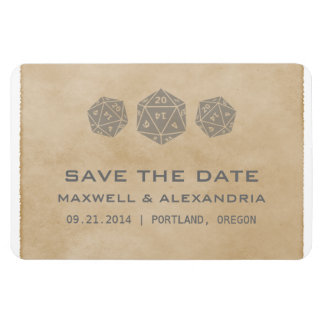 Gray Grunge D20 Dice Gamer Save the Date Magnet