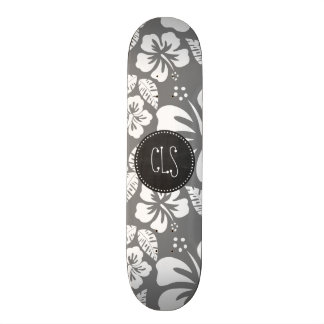Gray Hawaiian Tropical Hibiscus; Retro Chalkboard Skateboard Decks