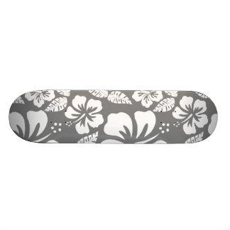 Gray Hawaiian Tropical Hibiscus Skate Boards