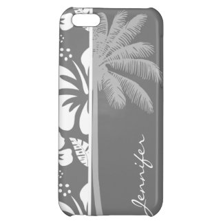 Gray Hawaiian Tropical Hibiscus; Summer Palm iPhone 5C Cases