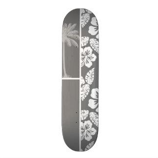 Gray Hawaiian Tropical Hibiscus; Summer Palm Custom Skate Board