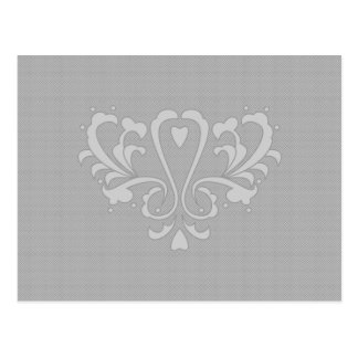 Gray Heart Damask Postcards