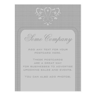 Gray Heart Damask Post Card