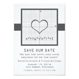 Gray Heart Math Graph Save the Date Invite