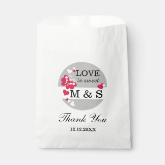 Gray Hearts And Butterflies|Monogram Party Favor Favour Bags