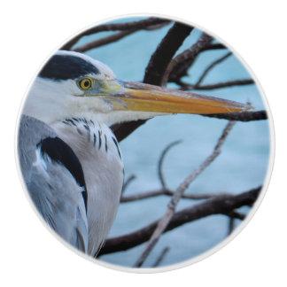 Gray Heron Ceramic Knob