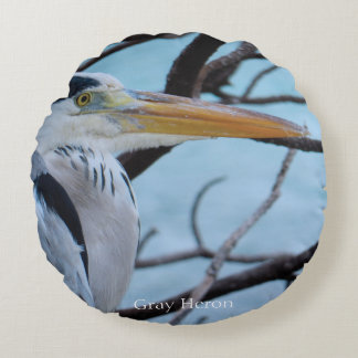 Gray Heron Round Cushion