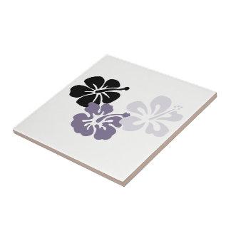 Gray Hibiscus Hawaii Theme Ceramic Tile