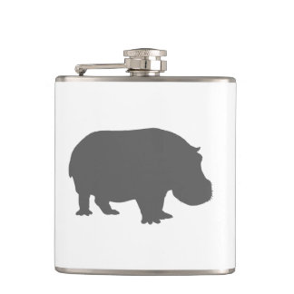 Gray Hippo Silhouette Hip Flask