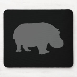 Gray Hippo Silhouette Mouse Pad